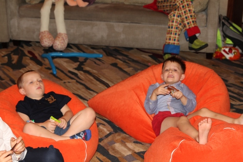 Ethan and Oliver chilling out on the bean bags!