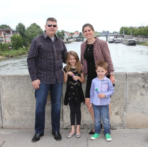 Stopping for photos on a bridge in Regensburg after the Town Hall ceremony.  On our way to lunch!