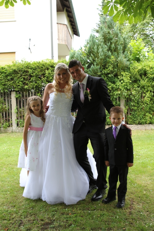 The beautiful bride and groom with 2 wonderful children!