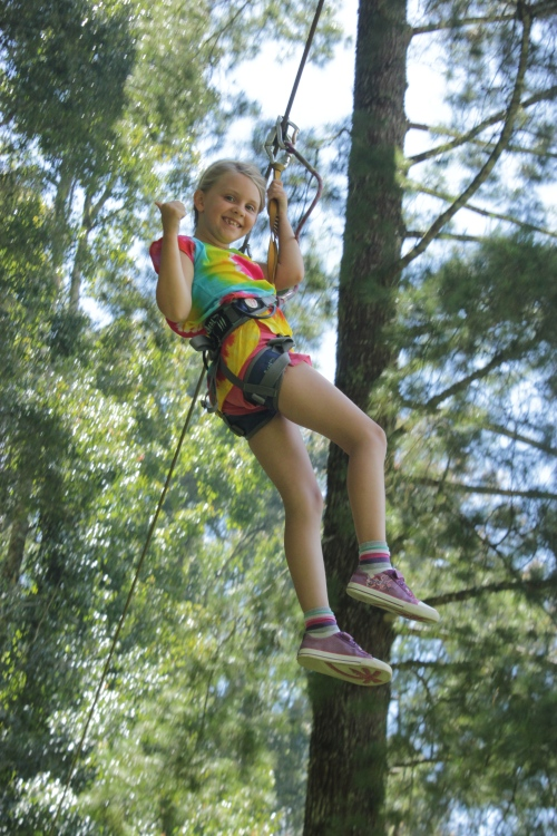 Isabelle loving 1 of the Flying Fox Zip Wires