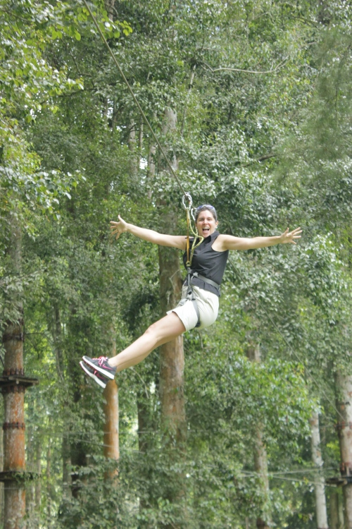 Me getting confident on the Flying Fox Zip line - look, no hands!!