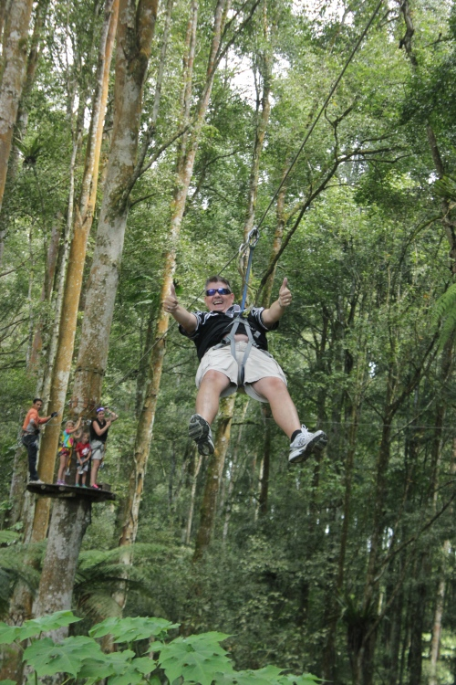 Owen on the Flying Fox Zip Line