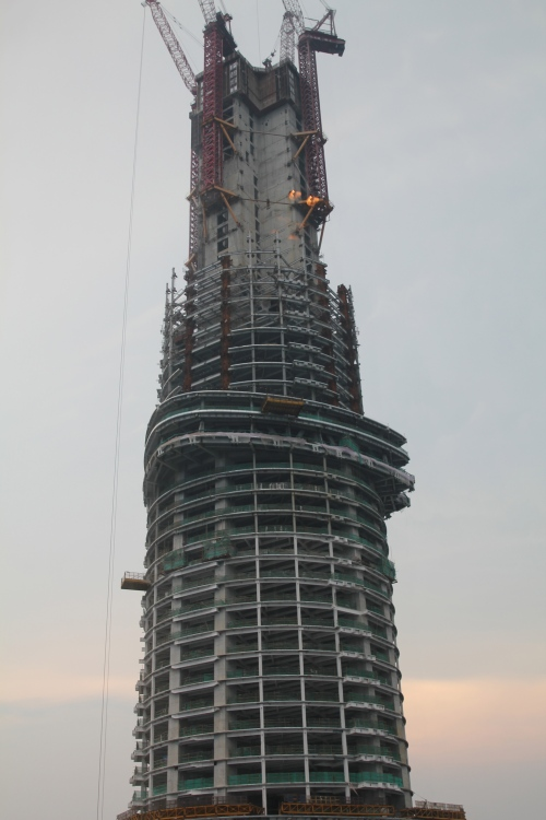 The view of the Shanghai Tower - construction is still going on the upper levels.