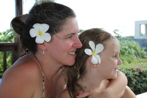 Me and my gorgeous girl with local flowers in our hair.