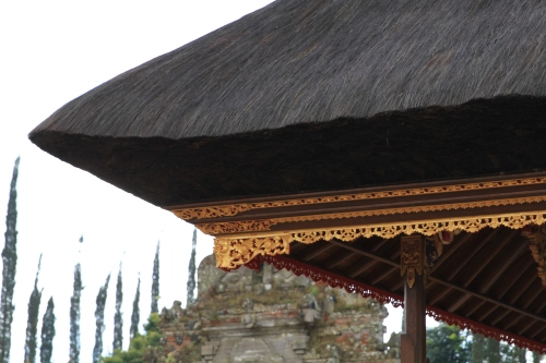 The roof of the temple is made from palm tree husks/silks.  There are very few on each palm tree so it takes a long time and huge effort to make this.