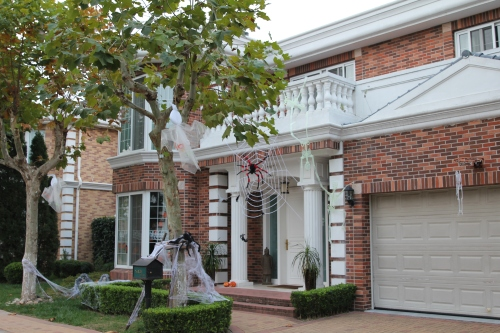 Ready for Halloween.  Check out the skeletons pulling each other up to the balcony!