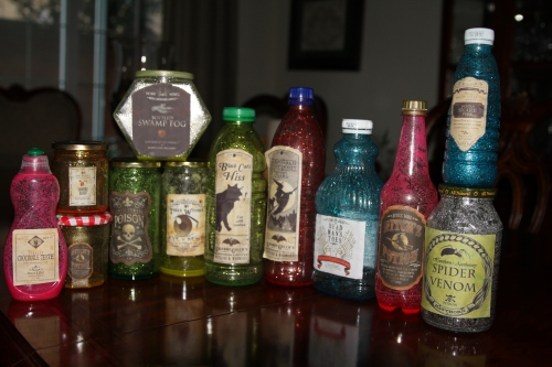 Scary potions that glowed all night!