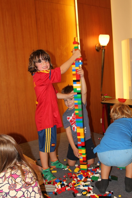 Oliver holding his tower up!