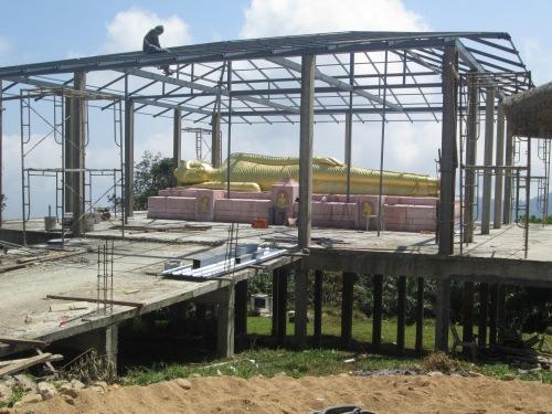 "The ""sleeping Budha"" being built."