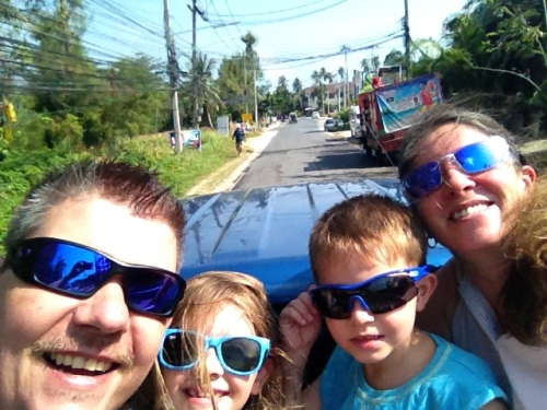 "A ""selfie"" of us in the back of our ride to the Quad Bike facility!  A cool way to see the Island."