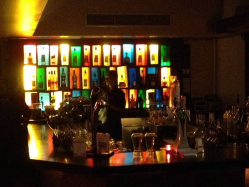 The lit up bottles at the bar in Red Snapper restaurant.