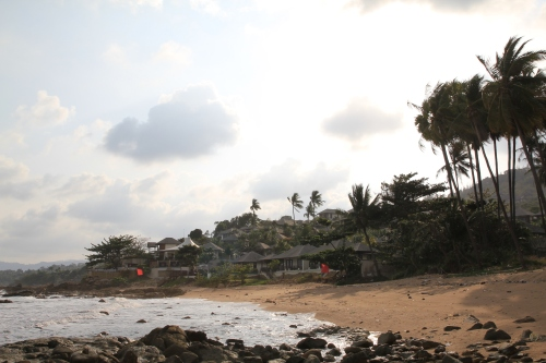 The deserted beach.  This is the Kanda Residence Villas nestled into the hills.  A beautiful place to recharge!