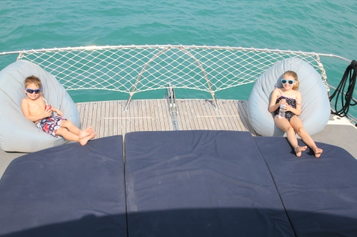 Kids relaxing on the bean bags at the front of the boat.  These were soooo comfortable.