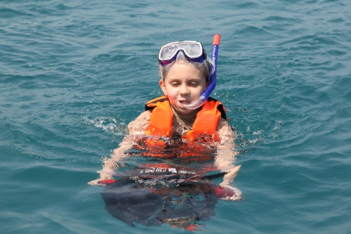 Isabelle trying out the Blade Fish.  She loved this and thought it was the coolest way to get around in the water!