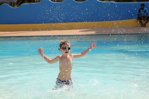 Oliver splashing about in the pool.  He was the only 1 in at this time!