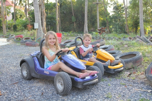 The smaller (but still fast) go karts that Oliver and Isabelle finished their track time in.