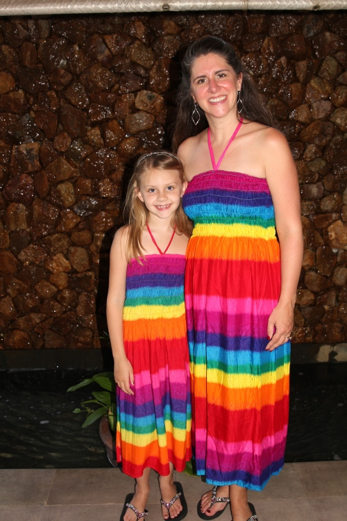 Me and my girl in our matching vacation dresses bought the day before in a local Koh Samui shop.