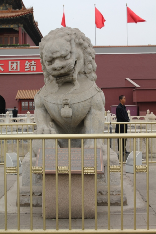 One of the lions guarding the Forbidden City