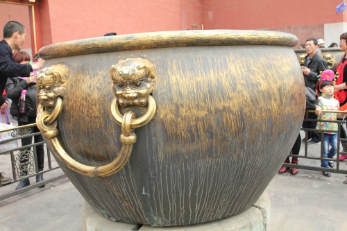 Huge copper and iron urns - for both water storage and fire.