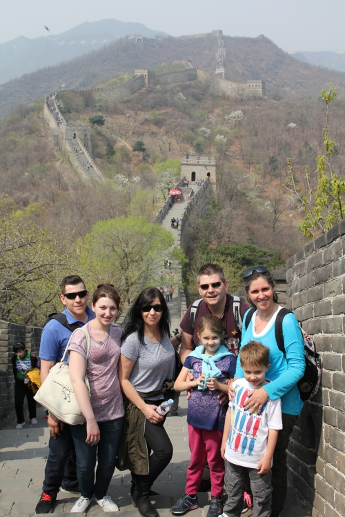 Ashley, Harley, Kim. Owen. Isabelle, Sara & Oliver on the Great Wall.