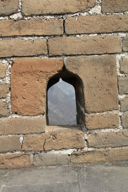 The Great Wall has holes like this to line up bow and arrows to fire at approaching enemies.