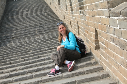 Another one checked off my Bucket List!  Oliver took this photo of me on the wonky steps on the Great Wall.
