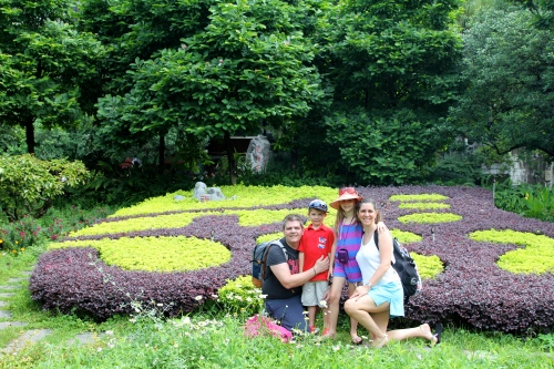 All of us by the lovely gardens at the public park - Fubo Hill