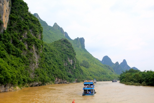 Despite the colour of the water, the Li River is one of the cleanest in China.  After stormy weather, the River turns this muddy colour.