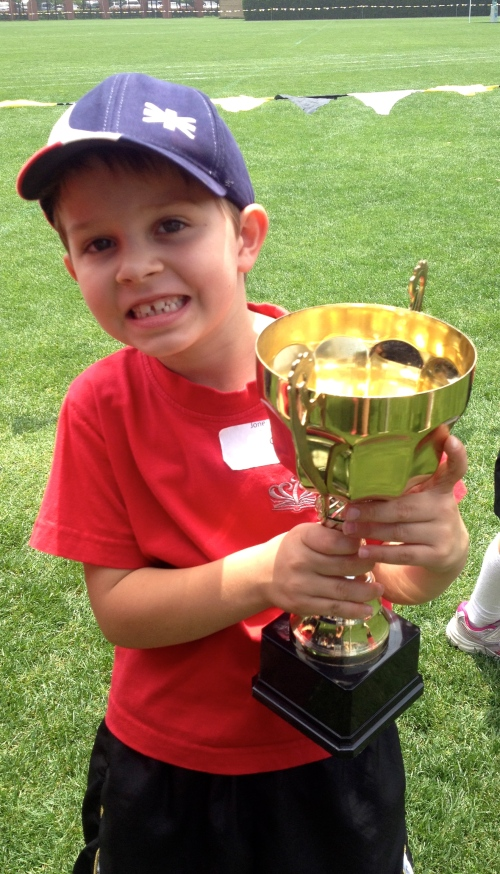 All the kids got a chance to pose for photos with the cup.  Here is Oliver - so proud that his house won!