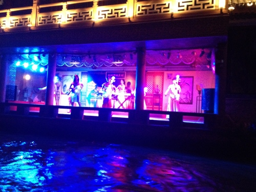 Entertainment along the river banks during our night boat ride.